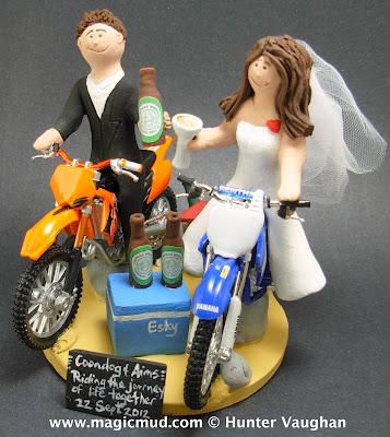 custom wedding cake toppers: KTM Dirt Bike Wedding Cake Topper