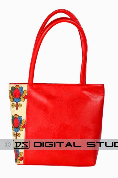 Pure leather red handbag for ladies