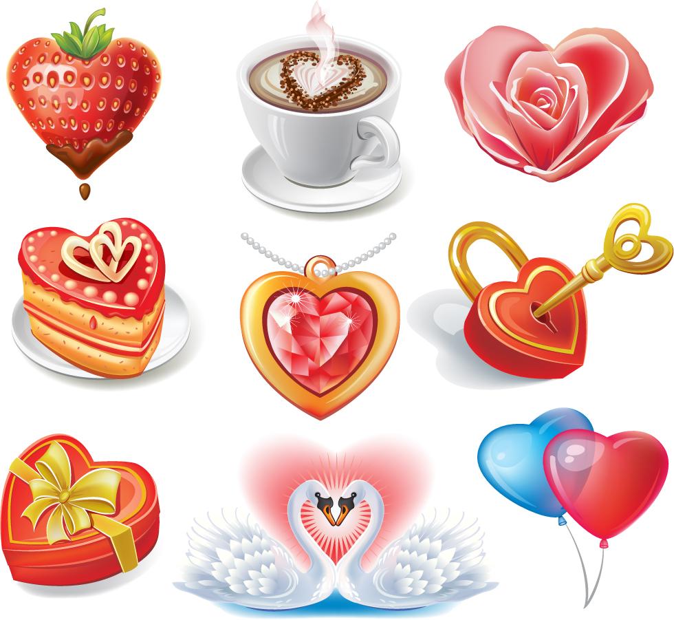 ハート型のバレンタインデー素材 Heart valentine's day romantic elements イラスト素材