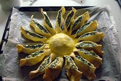Torta fiore di ricotta e spinaci 9