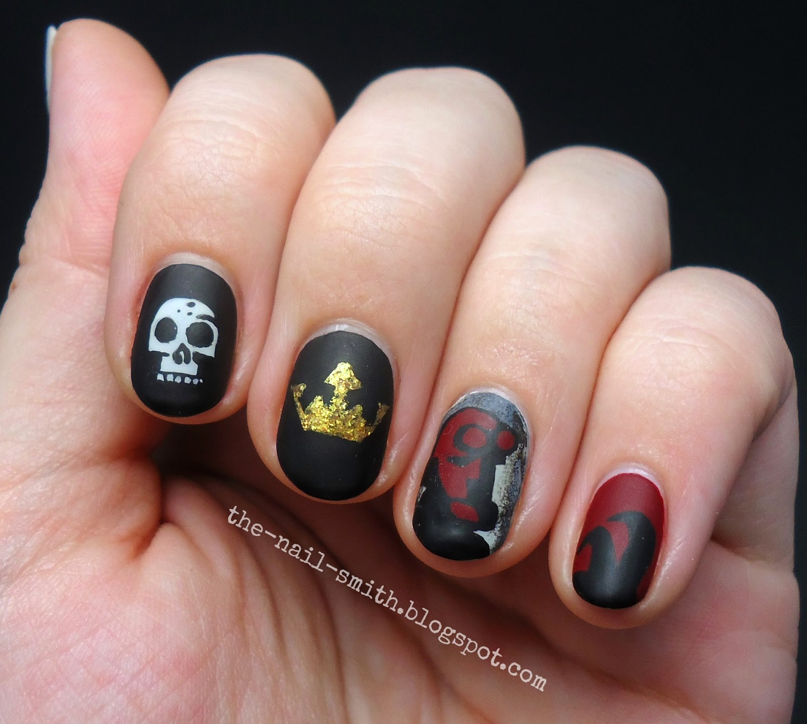 The nail smith hellboy homage twin post okay finally we get to the nail art after a base coat to protect my nails i painted the base colors on each of my nails maybelline bare escape on thumb prinsesfo Images