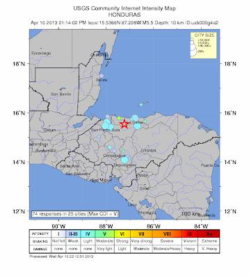 SISMO 5,5 GRADOS SACUDE HONDURAS, 10 de Abril de 2013