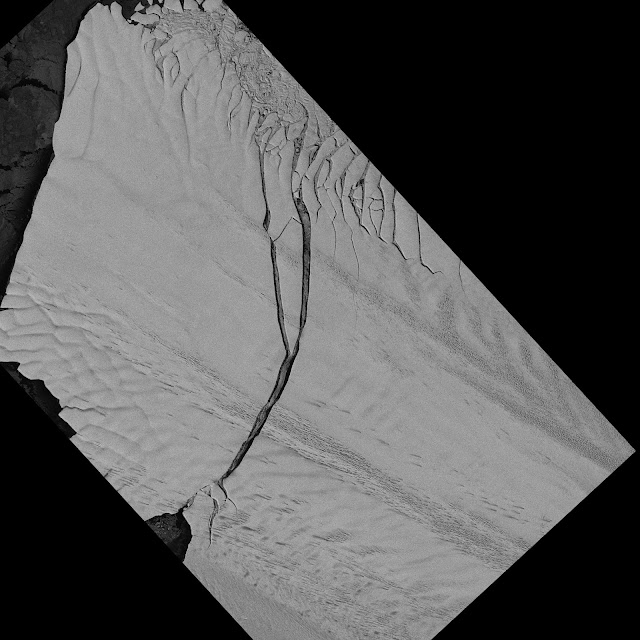 Image of the Pine Island Glacier ice shelf from the German Aerospace Center Earth monitoring satellite TerraSAR-X captured on July 8, 2013. Image Credit: DLR
