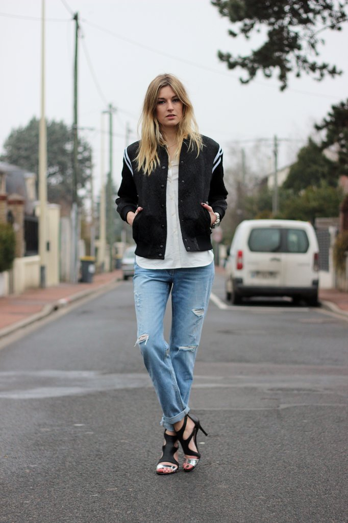 Camille over the Rainbow Sandro bomber jacket and boyfriend jeans