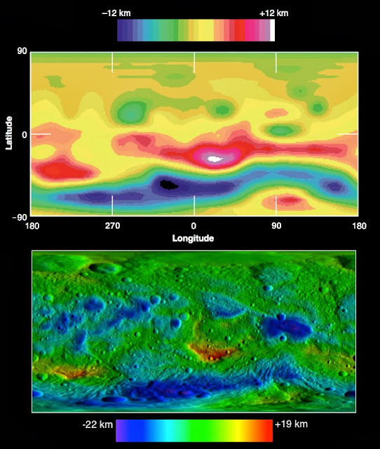 These two images compare topographic maps of the giant asteroid Vesta as discerned by NASA's Hubble Space Telescope (top) and as seen by NASA's Dawn spacecraft (bottom). Image Credit: A/ESA/Cornell and NASA/JPL-Caltech/UCLA/MPS/DLR/IDA