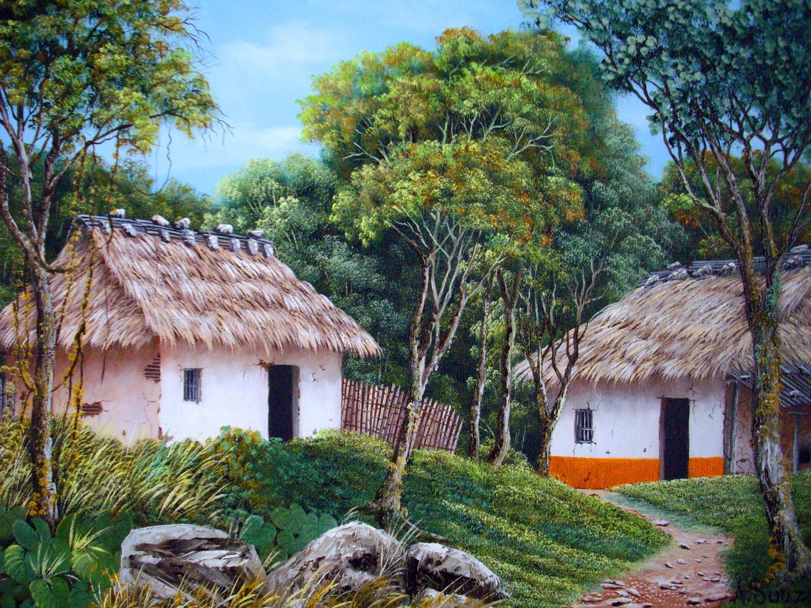Im genes arte pinturas lindos paisajes con casas - Paisajes de casas ...