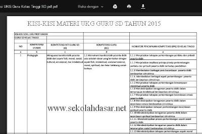 Kisi-Kisi UKG 2015 Guru SD Kelas Rendah dan Tinggi