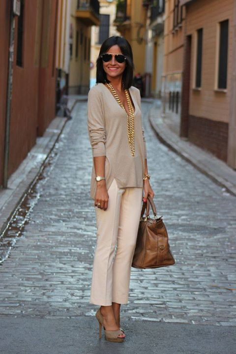 khaki top,  pants, Cut out Heels, Hand Bag   Women Fashion