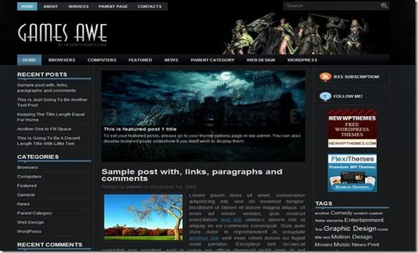 Free Jquery Games Black Wordpress Theme