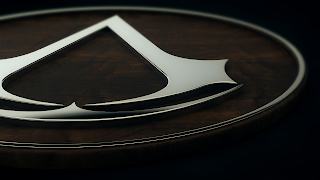 3D Assassin's Creed Chrome Logo HD Wallpaper