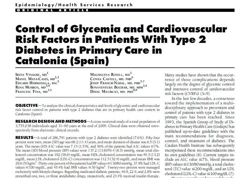 RedgedapS: Evaluación de la diabetes tipo 2 en Cataluña