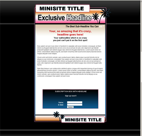 template mini-site web 5