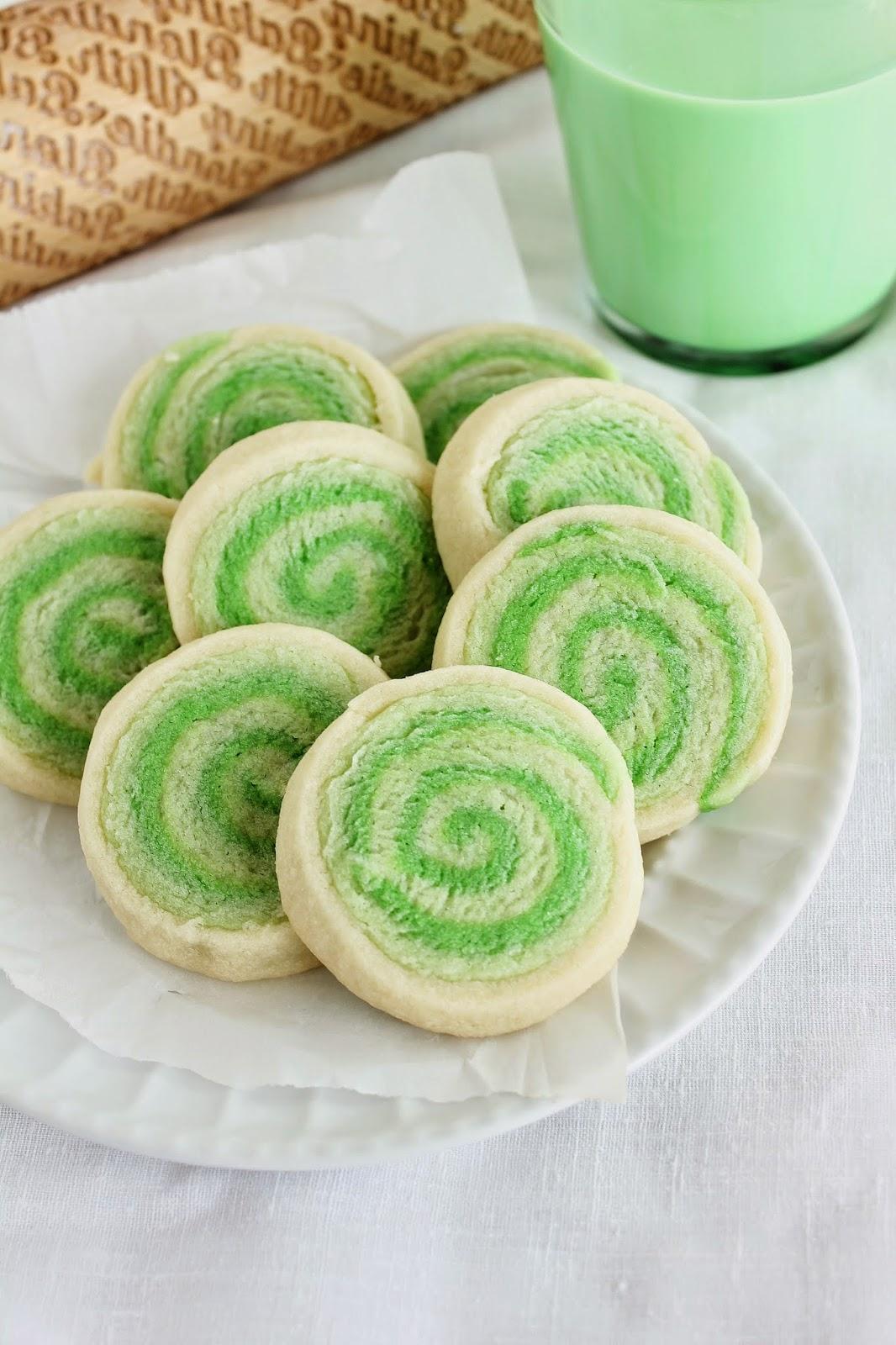 Green Pinwheel Sugar Cookies
