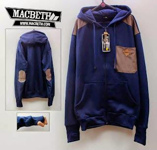 Jaket Macbeth 07 Navy Kantung Coklat