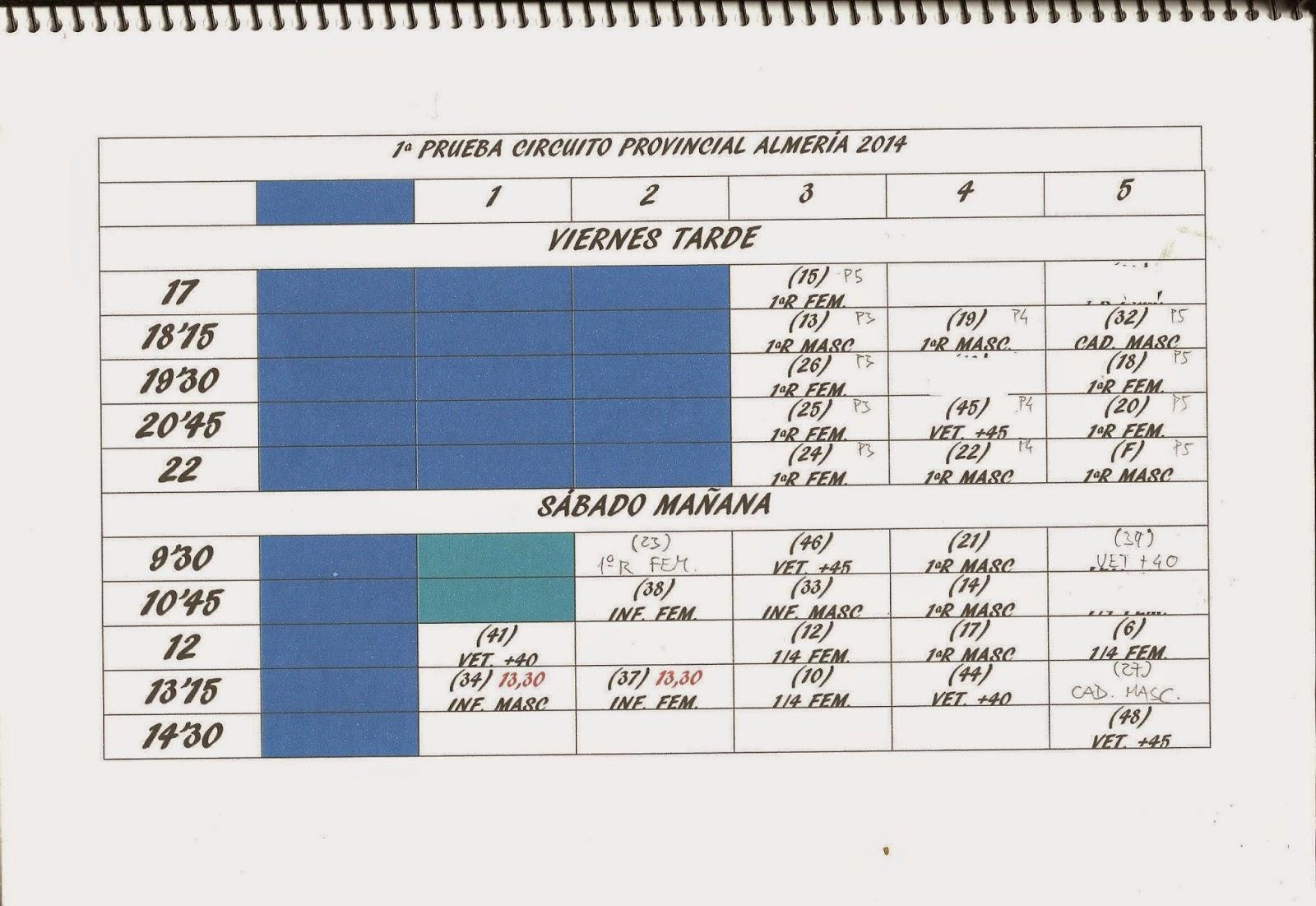 Cuadrante de horarios de la 1ª Prueba del Circuito Provincial de Almería de Pádel 2014