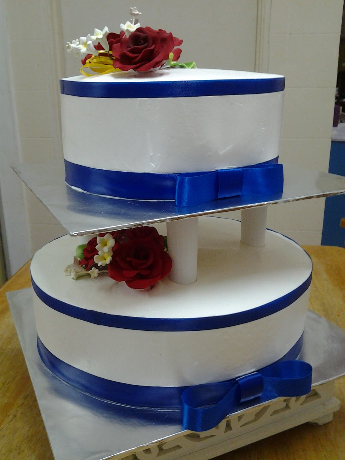 CT Hasanah Cake House Blue and White 2 Tier Wedding Cake