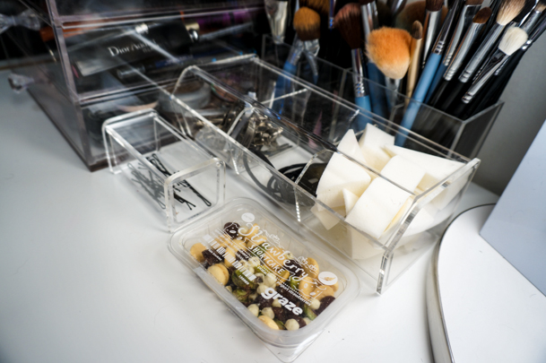 bobby pin holder 4section box for makeup brushes and 3section hinged lid box from the container store snack is from my graze box u2013 get your first box