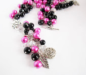 Hot in Pink Y Drop Cluster Necklace