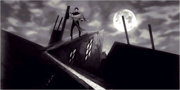 A great example of stunning set design in The Cabinet of Dr. Caligari