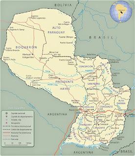 Paraguaj - harta gjeografike e Paraguajit