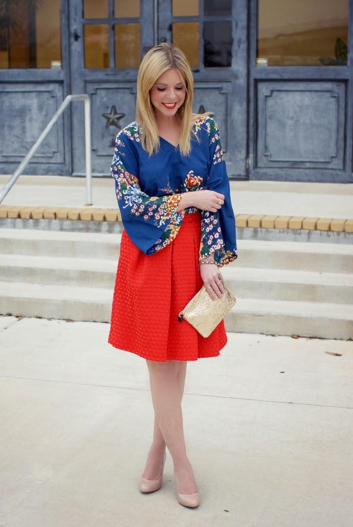 red textured midi pleated flare midi skirt