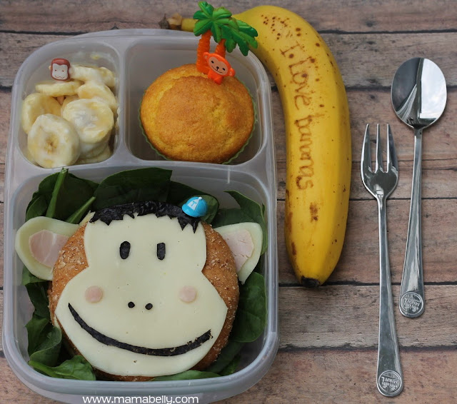 Monkey and Banana Literary school lunch in Easylunchboxes - mamabelly.com