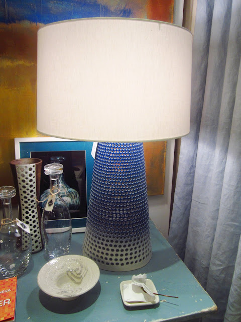 pierced ceramic table lamp with blue and white ombre on the base with a white shade