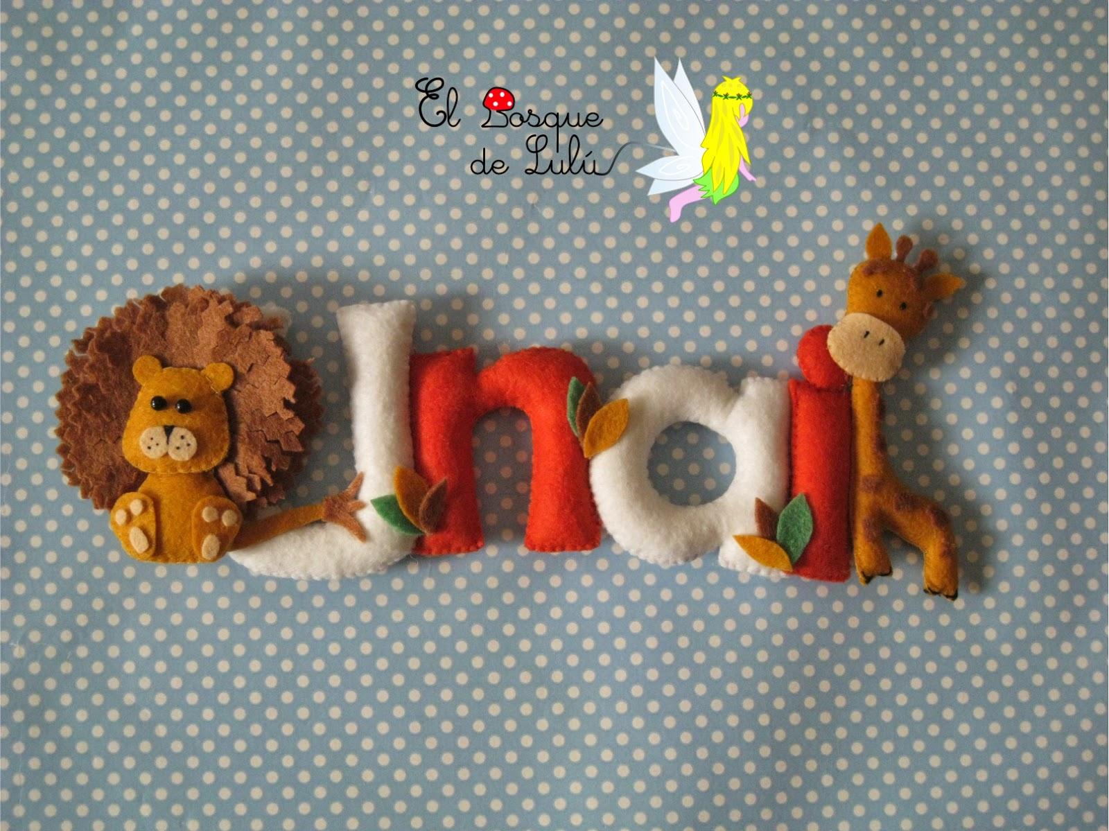 nombre-decorativo-fieltro-Unai-regalo-nacimiento-decoración-infantil-animales
