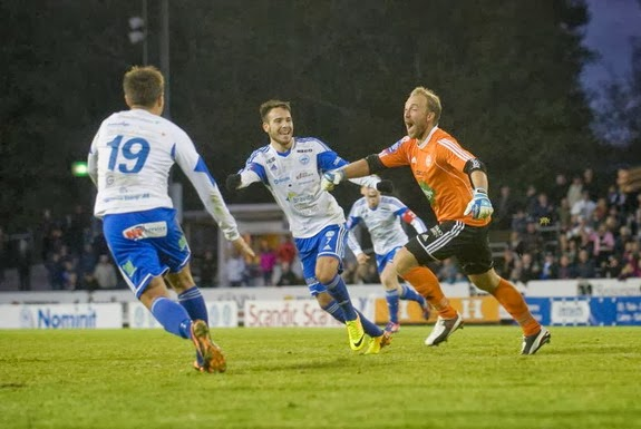 Värnamo goalkeeper Björn Åkesson celebrates after scoring a late equaliser against Varberg