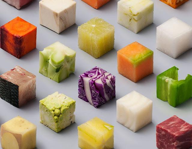 Corto alimentos en cubos perfectos y el resultado fue impactante