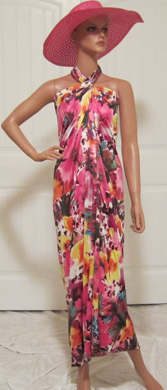 Tropical Pink Floral Animal Print Sarong