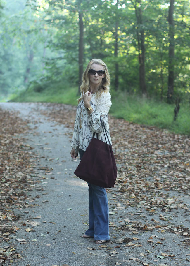anthropologie peasant top, goldsign flare jeans, mango handbag