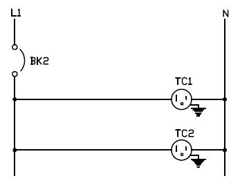 Conexion de dos tomacorrientes 120V
