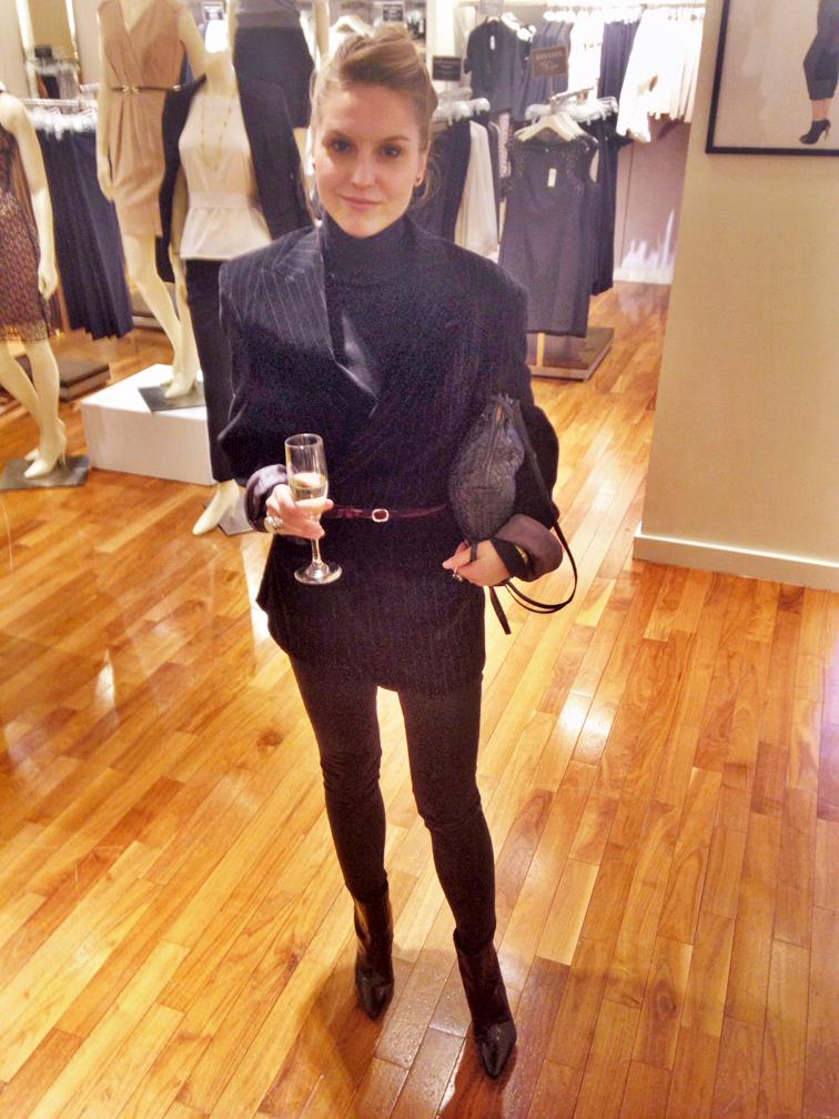 Menswear pinstripe velvet blazer, thin velvet joe fresh belt, ASOS jeans, Pour la Victoire patent leather boots, Bottega Veneta crossbody intrecciato bag