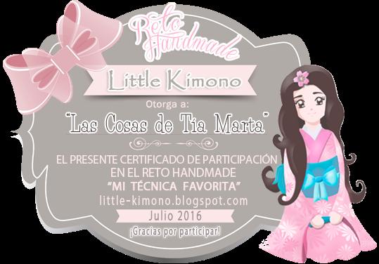 Certificado Little Kimono handmade mi técnica favorita 15 de julio