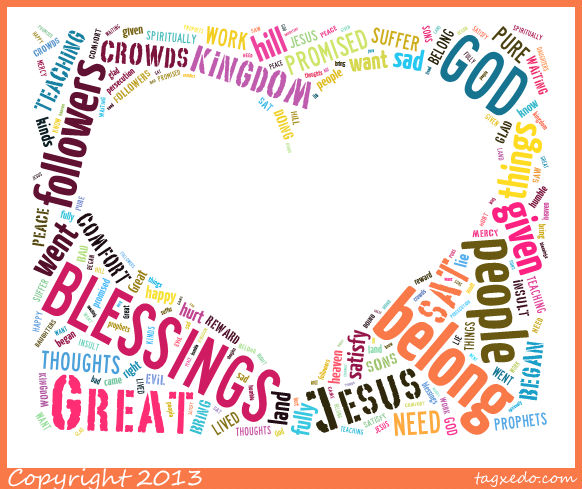 Flame Creative Childrens Ministry Beatitudes Word Clouds To Help Children Respond printable