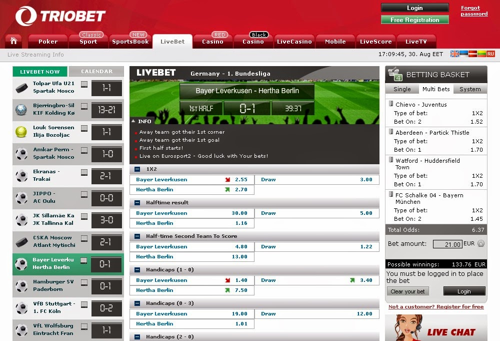 Triobet Live Betting Screen