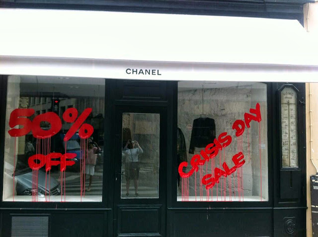 """Crisis Day Sale"" New Attack By Kidult On The Chanel Store In Paris, France. 1"