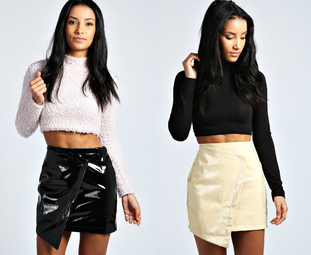 Boohoo.com Black/Stone Patent High Shine Asymmetric Skirt Summer Sale