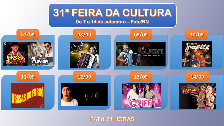 PROGRAMAÇÃO DA 31ª FEIRA DA CULTURA DE PATU