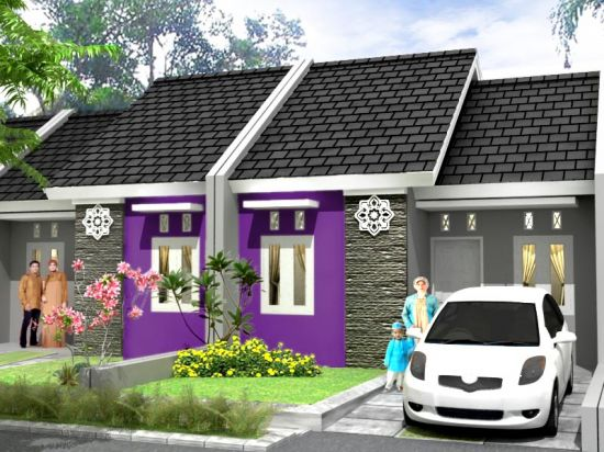 Design Cat Rumah Warna Ungu