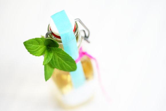 homemade peppermint sirup - selbstgemachter Pffefferminzsirup