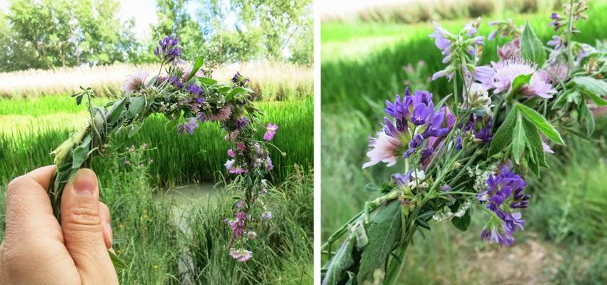 Diy corona de flores silvestres improvisado4