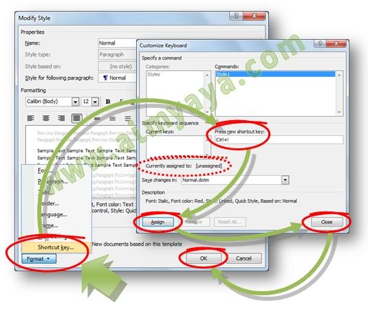 Gambar:  Cara membuat/mengganti/menghapus keyboard shortcut untuk style Microsoft Word