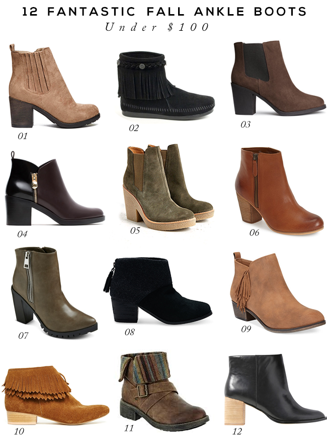 12 Fantastic Fall Ankle Boots Under $  100