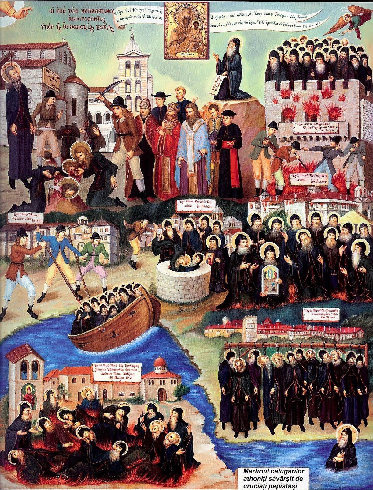Papistași ucigând călugări la Athos