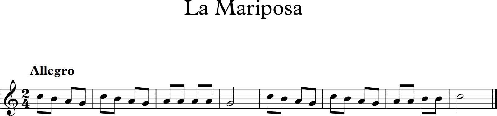 Descubriendo la m sica partituras para flauta dulce o de for Mariposita esta en la cocina