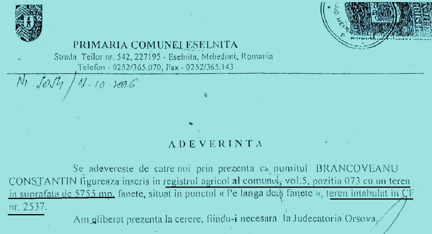 Registrul agricol al Primariei volumul  5, pozitia 073
