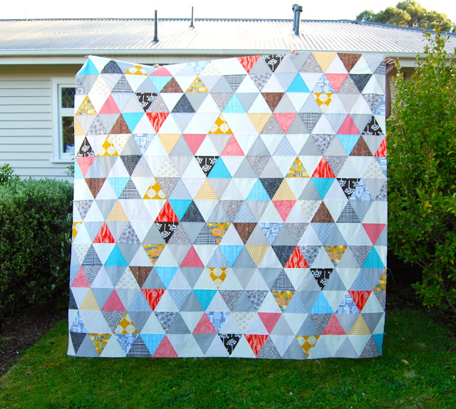 Modern sixty degree triangle quilt