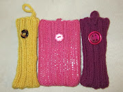 iPod cases. Very very simple ribbed cases knit in the round with the .